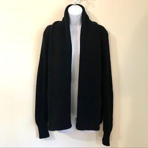 REISS Black Knit Open Front Cardigan